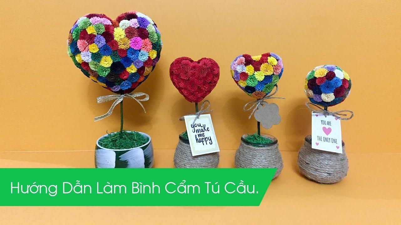 [Vinacraft] Hướng dẫn làm chậu hoa tim màu sắc