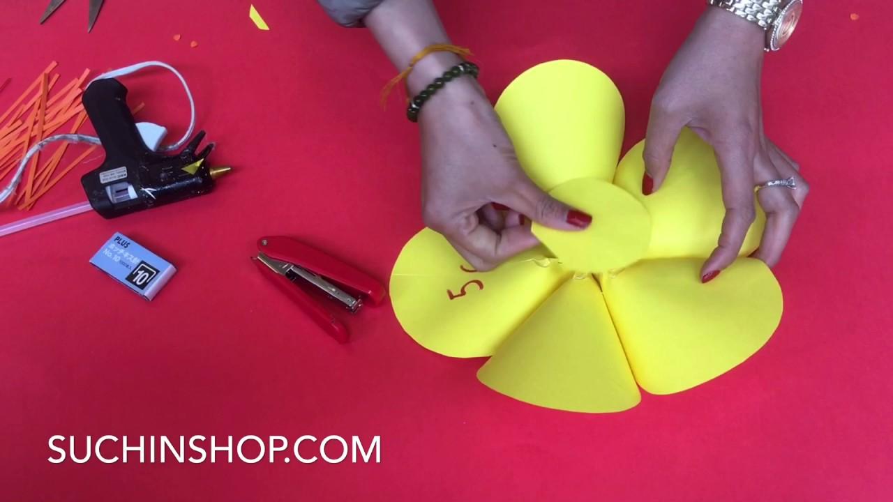 Hướng dẫn làm Hoa mai trang trí Tết trên backdrop hoa giấy Suchin -VIDEO 37