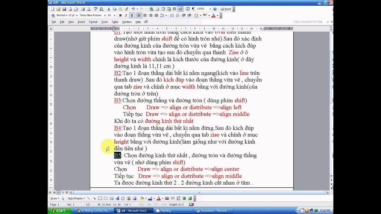 Hướng dẫn xác định tâm của đường tròn trên word nhanh nhất