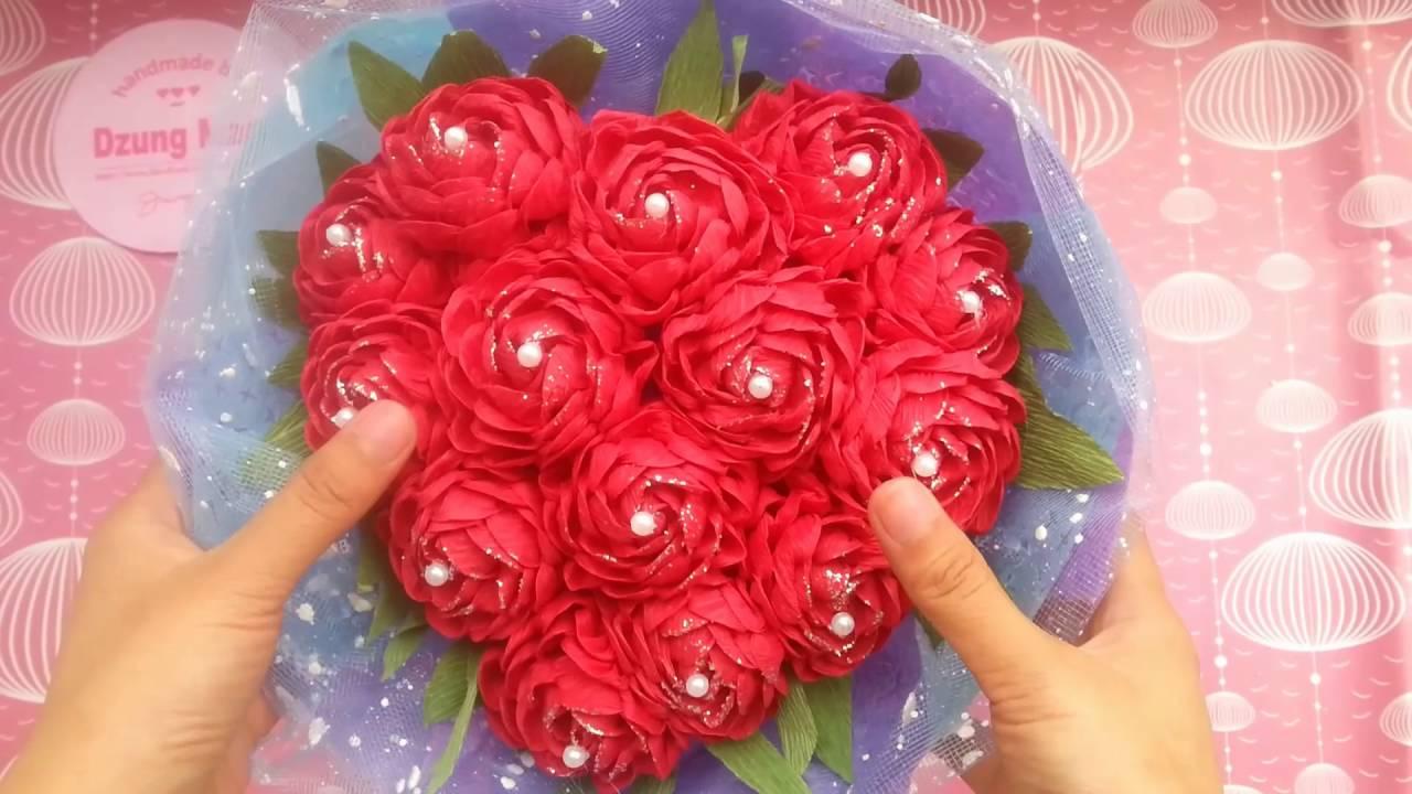Tổng hợp các cách bó hoa – hình trái tim – bằng giấy báo, nilon, hoa cưới