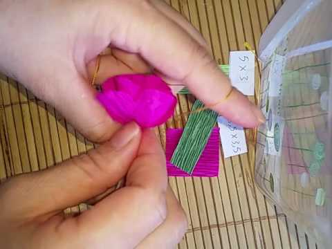 Làm hoa đào bằng giấy nhún cực dễ..