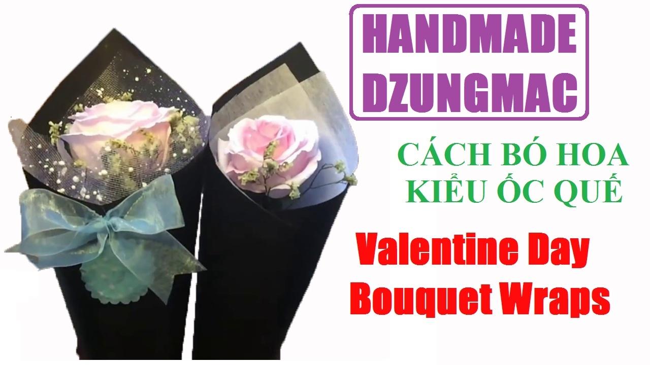 cách làm hoa giấy – Valentine Day Bouquet Wraps – cách bó hoa ốc quế