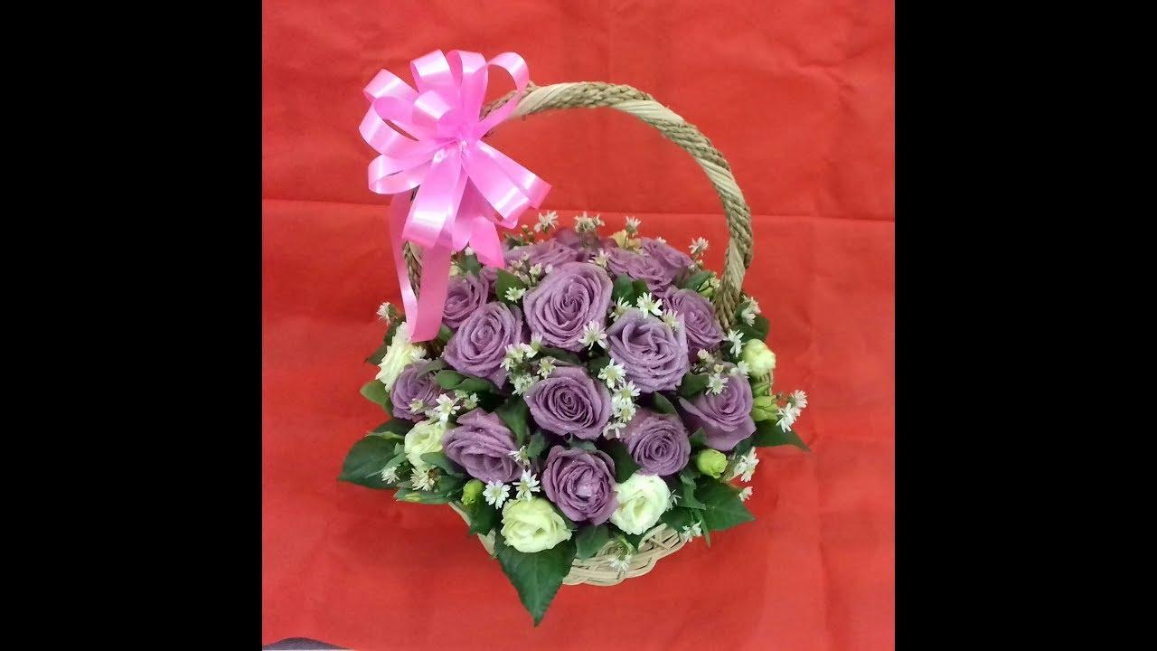 Hướng dẫn cắm giỏ hoa hồng ngày 8/3 – THUY TIEN FLOWER