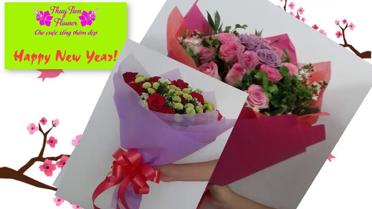 THUY TIEN FLOWER – Hướng dẫn kết bó hoa hồng tròn cho ngày Valentine 14/2 và 8/3