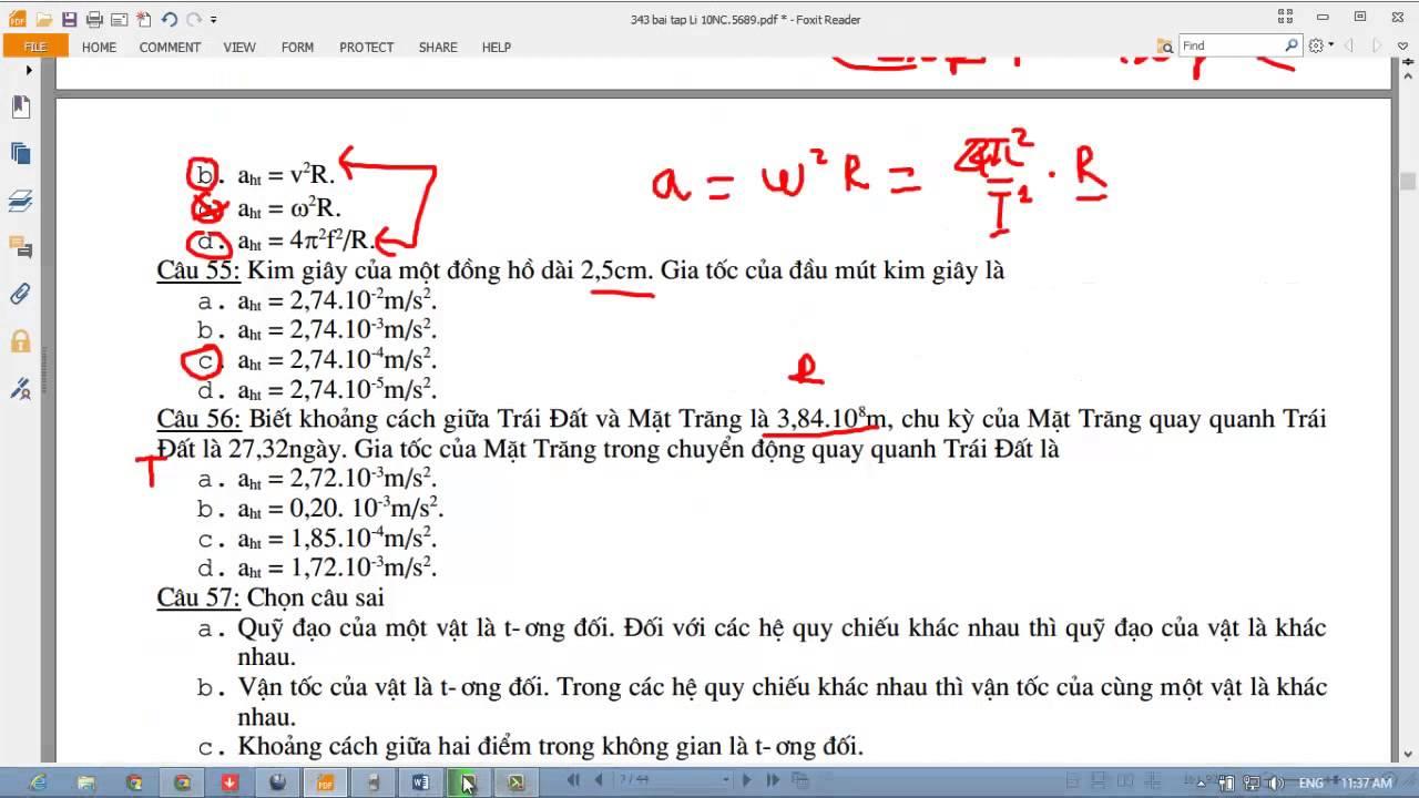 [VẬT LÝ 10] Chương 1 Động học chất điểm. Bài 13 Bài tập trắc nghiệm 51-60