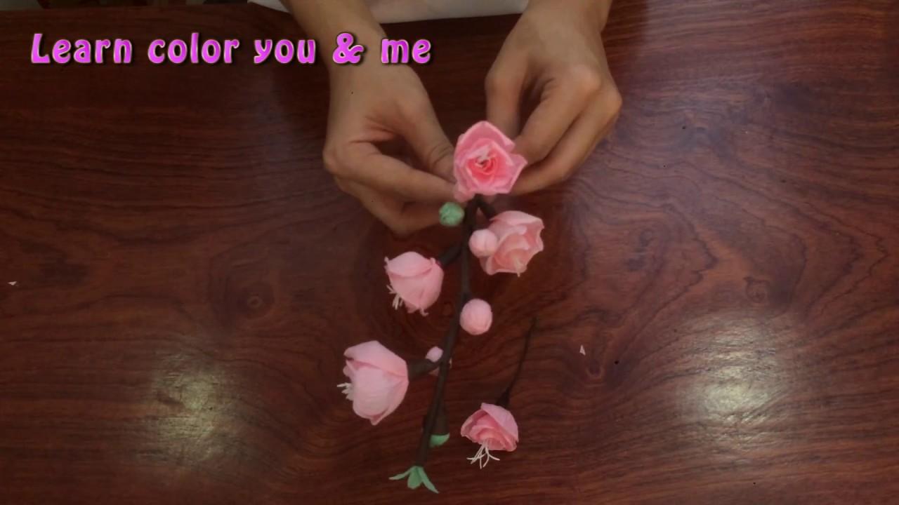 ✅ MINHANH TV 🔴Tập 6: Hướng dẫn làm hoa đào bằng giấy nhún